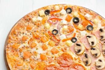 Пицца «Четыре сезона» на тонком тесте